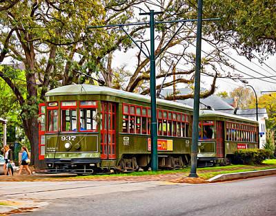 Streetcar Digital Art - A Streetcar Named St. Charles Oil by Steve Harrington