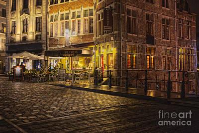 A Streetscene At Night In Europe Art Print