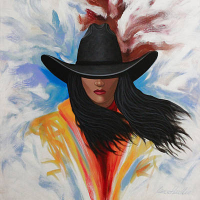 A Stroke Of Cowgirl Art Print by Lance Headlee