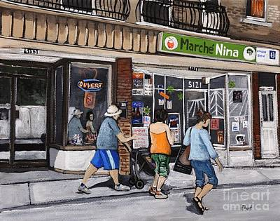 Verdun Painting - A Stroll Down Wellington Street In Verdun by Reb Frost
