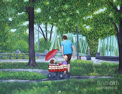 Quebec Painting - A Stroll In The Park by Reb Frost