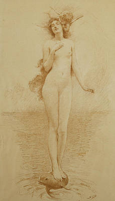 Sea View Drawing - A Study For The Birth Of Love by Solomon Joseph Solomon