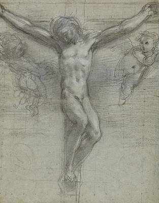 Jesus Drawing - A Study Of Christ On The Cross With Two by Federico Fiori Barocci or Baroccio