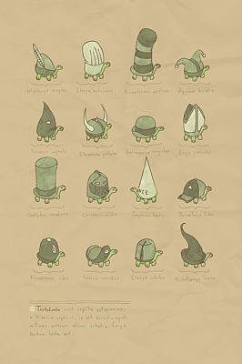 Dunce Cap Digital Art - A Study Of Turtles by Hector Mansilla