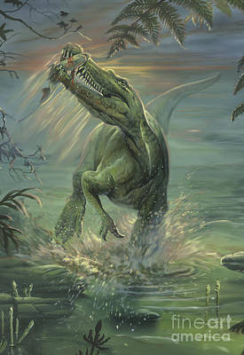 Two Fish Digital Art - A Suchomimus Catches A Fish by Jan Sovak