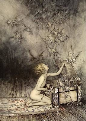 Pandora Drawing - A Sudden Swarm Of Winged Creatures by Arthur Rackham