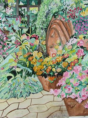 Painting - A Summer Flower Garden by Esther Newman-Cohen