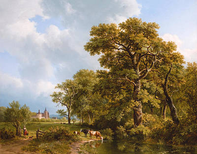 A Summer Landscape With Cows Watering. A Castle In The Distance Art Print