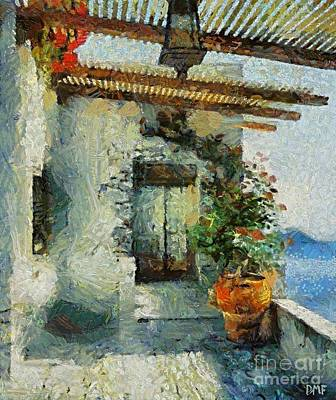 City Scenes Painting - A Summer Terrace by Dragica  Micki Fortuna