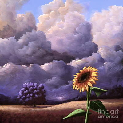 Painting - A Sunflower Among The Storm by Ric Nagualero
