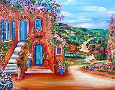 Staircase Painting - A Sunny Day In Chianti Tuscany by Roberto Gagliardi