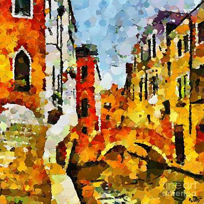 Bridge Painting - A Sunny Day In Venice by Dragica  Micki Fortuna