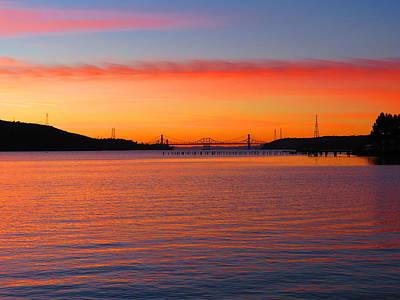 A Sunset And A Bridge Art Print