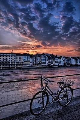 A Sunset Cycle By The Rhine Basel Art Print