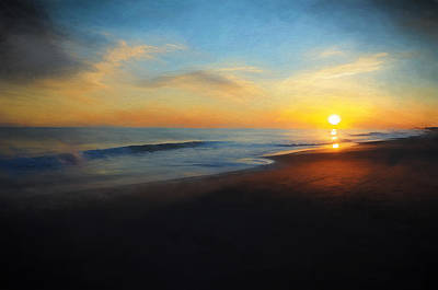 Beach Sunset Mixed Media - A Sunset Stroll by Tazz Anderson