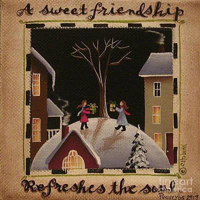 A Sweet Friendship  Winter Art Print by Catherine Holman