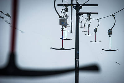 Chairlift Photograph - A T-bar Lift In White-out Conditions by Blake Jorgenson