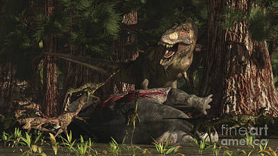 A T-rex Returns To His Kill And Finds Art Print by Arthur Dorety