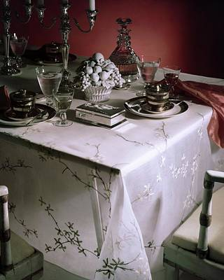 A Table Set With Delicate Tableware Art Print