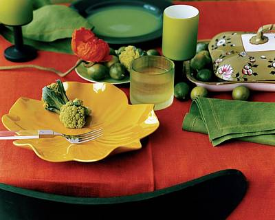 Tumbler Photograph - A Table Setting With Pieces By Ralph Lauren by Martyn Thompson