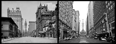 A Tail Of Two Cities - South Broad Then And Now Art Print by Bill Cannon