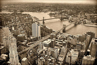 Arial Photograph - A Tale Of Two Bridges 2 by Joann Vitali