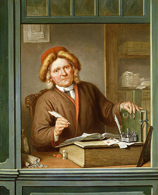 Desk Painting - A Tax Collector, 1745 by Tibout Regters