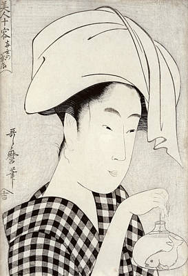 Goldfish Drawing - A Tea-house In Ryogoku, From The Series Bijin Juyo Ten Female Figures by Kitagawa Utamaro