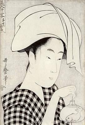 Checkered Black-and-white Painting - A Tea-house In Ryogoku, From The Series Bijin Juyo Ten Female Figures by Kitagawa Utamaro