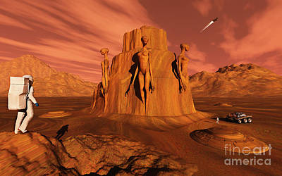 Arid Life Digital Art - A Team Of Explorers From Earth by Mark Stevenson