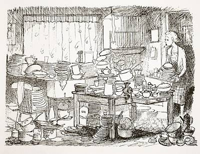 Satire Wall Art - Drawing - A Tendency To Leave The Washing-up Till by Pont