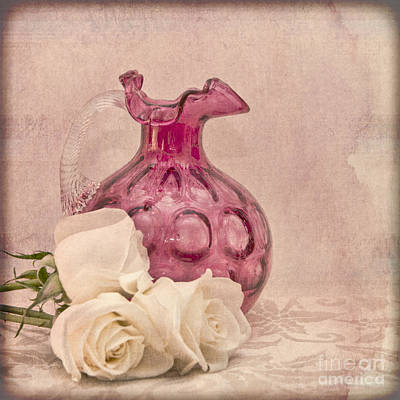 Antique Roses Vase Wall Art - Photograph - A Tender Thought by Betty LaRue