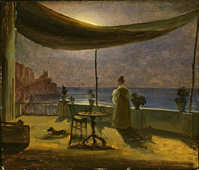 Fearnley Painting - A Terrace In Amalfi In Moonlight by Thomas Fearnley