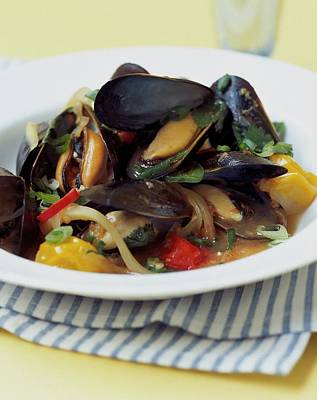 Healthy Food Photograph - A Thai Dish Of Mussels And Papaya by Romulo Yanes