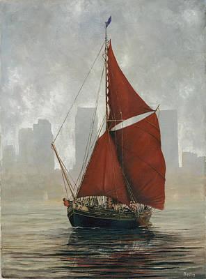 A Thames Barge By Canary Wharf Art Print