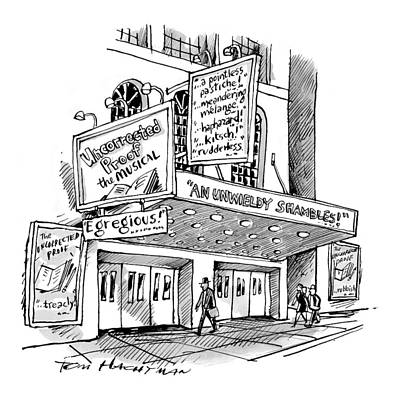 A Theater Marquee Advertises A Show Called Art Print by Tom Hachtman