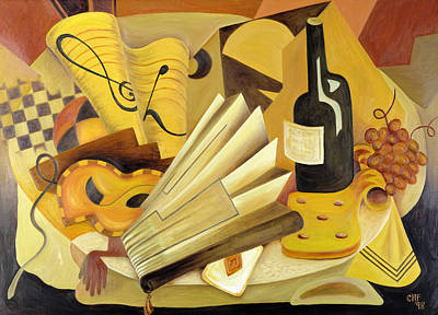 Cubist Photograph - A Theatrical Dinner, 1998 Oil On Canvas by Carolyn Hubbard-Ford