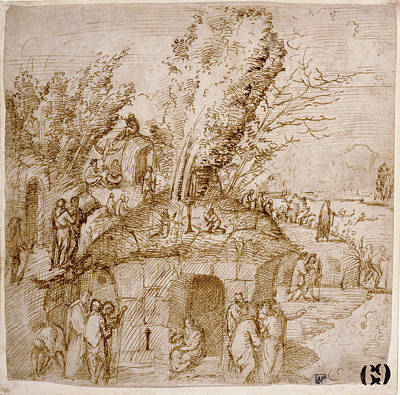 A Thebaid Monks And Hermits In A Landscape Lorenzo Costa Art Print