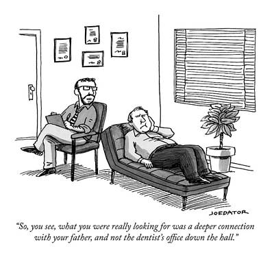 Psychoanalysis Drawing - A Therapist Talks To A Patient by Joe Dator