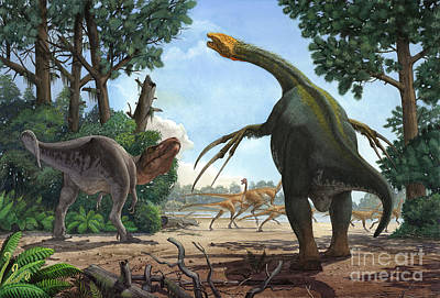 Landscapes Royalty-Free and Rights-Managed Images - A Therizinosaurus Prevents A Young by Sergey Krasovskiy
