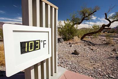 Dry Lake Photograph - A Thermometer At The Furnace Creek by Ashley Cooper