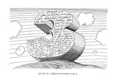 Abstract Hearts Drawing - A Three-dimentional ?gure Of Speech by Saul Steinberg