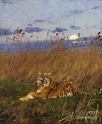 Fauna Painting - A Tiger In The Moonlight by Pg Reproductions