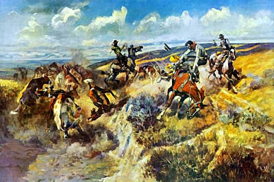 Digital Art - A Tight Dally And A Loose Latigo by Charles Russell