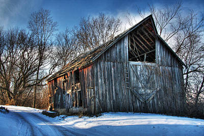 Winter Scenes Photograph - A Time Gone By....  Country Barn by Wayne Moran
