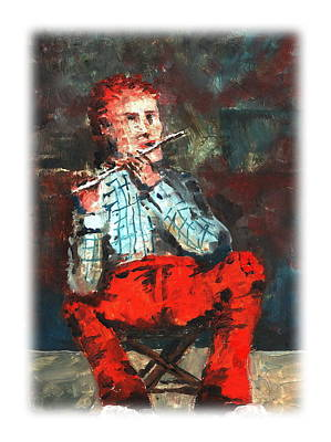 Tin Whistle Painting - A Tin Whistle Jig by Val Byrne