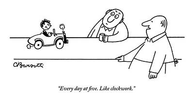 Drawing - A Tiny Man In A Tiny Car Drives On A Bar by Charles Barsotti