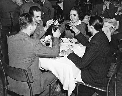 Table Wine Photograph - A Toast Amongst Friends by Underwood Archives