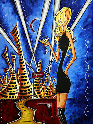 Fashion Painting - A Toast To The Little Black Dress By Madart by Megan Duncanson