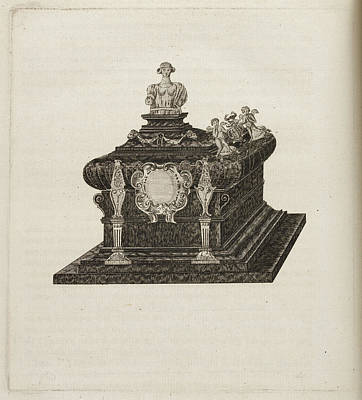 A Tomb Or Casket With A Bust Or Statue Art Print